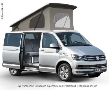 Diese Grafik veranschaulicht einem VW Transporter T5 mit einem REIMO Aufstelldach, auch Schlafdach genannt